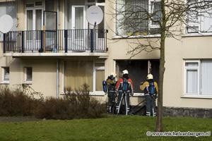 Foto: Michel van Bergen Flatwoning Vincent van Goghlaan volledig uitgebrand