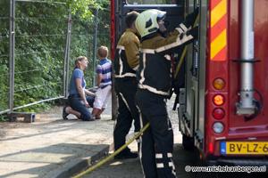 Foto Sloop pand Adelbertus school in Spaarndam in de brand gestoken