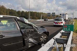 Foto Vertraging A9 door ongeval personenauto met vrachtwagen