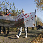 Protestloop tegen fietspad in Amsterdamse Waterleiding Duinen