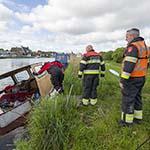 Woonboot gezonken aan het  Emeltpad in Haarlem