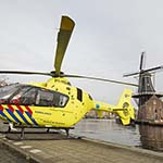 Traumahelikopter op de Koudehorn in Haarlem