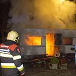 Caravan in de brand gevlogen op camping De Liede in Haarlem